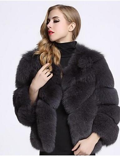 c835042e4fb Women's Daily Fall / Winter Short Fur Coat, Solid Colored Round Neck Long  Sleeve Faux Fur Dark Gray / Purple / Light gray XL / XXL / XXXL