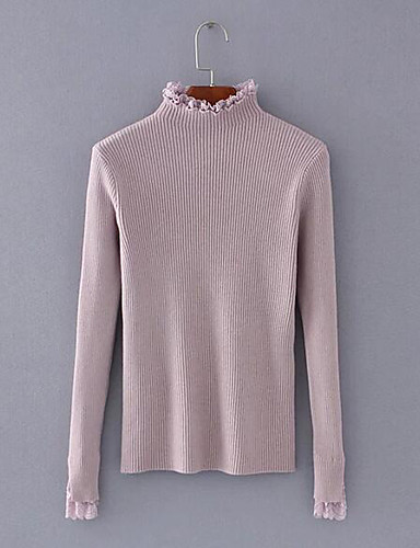 Women's Going out Regular Pullover,Solid Crew Neck Long Sleeves Polyester Fall Medium Micro-elastic