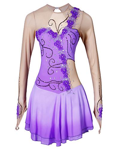 שמלה להחלקה אמנותית בגדי ריקוד נשים בנות החלקה על הקרח שמלות סגול ריינסטון אפליקציות גמישות גבוהה הצגה ביגוד להחלקה על הקרח עבודת יד קלאסי