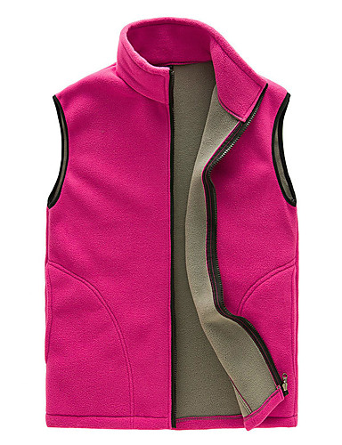 cheap Outdoor Clothing-Men's Women's Hiking Vest Outdoor Autumn / Fall Winter Warm Thick Vest / Gilet Fleece Full Length Visible Zipper Camping / Hiking Hiking Camping Rough Black / Royal Blue / Dark Navy