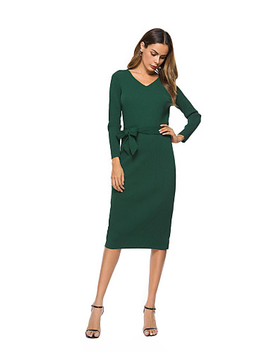 20fab4290c4 Women s Party Going out A Line Dress - Solid Colored V Neck Fall Cotton  Green Khaki M L XL