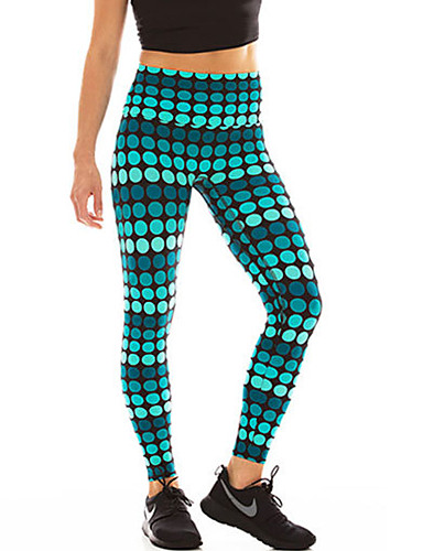 Women's Stitching Print Solid Color Legging - Print, Dots