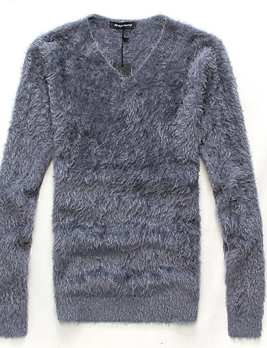 Men's Mohair Pullover - Solid Round Neck