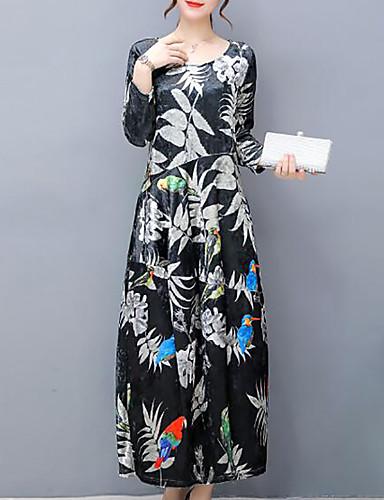 Women's Plus Size Going out Velvet Loose Dress Print Maxi