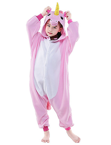 cheap Kigurumi Pajamas-Kid's Kigurumi Pajamas Unicorn Flying Horse Animal Onesie Pajamas Polar Fleece Pink / White+Blue / White+Pink Cosplay For Boys and Girls Animal Sleepwear Cartoon Festival / Holiday Costumes