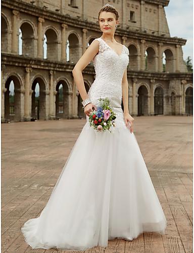 Sellő fazon V-alakú Seprő uszály Csipke Tüll Egyéni esküvői ruhák val vel Gyöngydíszítés Rátétek által LAN TING BRIDE®