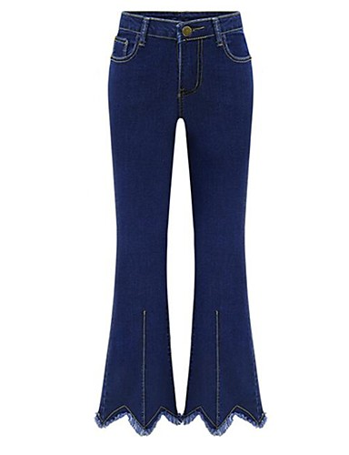 Women's Street chic Plus Size Bootcut / Jeans Pants - Solid Colored Blue XXXL / Work