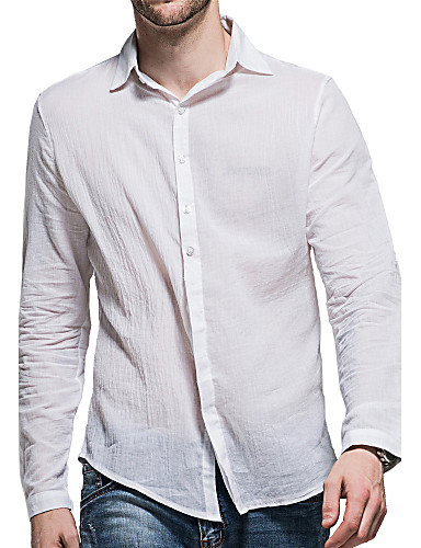 Men's Cotton Shirt - Solid Colored Basic Classic Collar / Long Sleeve
