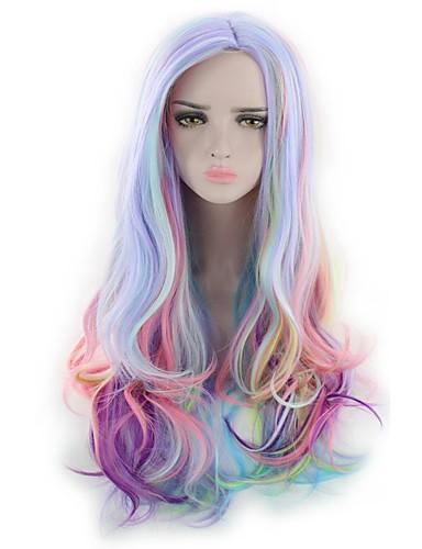 voordelige Cosplay Pruiken-Synthetische pruiken / Kostuum pruiken Golvend / Natuurlijk golvend Kardashian Stijl Zonder kap Pruik Blauw Regenboog Synthetisch haar Dames Blauw / Roze / Paars Pruik Lang