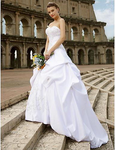 Báli ruha Szív-alakú Kápolna uszály Csipke Szatén Egyéni esküvői ruhák val vel Hímzés Hosszú szoknya által LAN TING BRIDE®