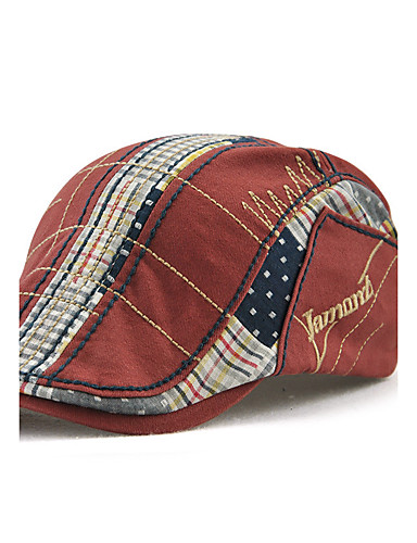 9c11b3daa3736 Men s Active Windproof Cotton Beret Hat Floppy Hat-Patchwork Embroidered  Red Gray Yellow