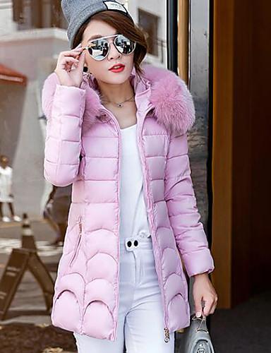 Damen Gefüttert Mantel Freizeit Alltag Solide-Polyester Langarm