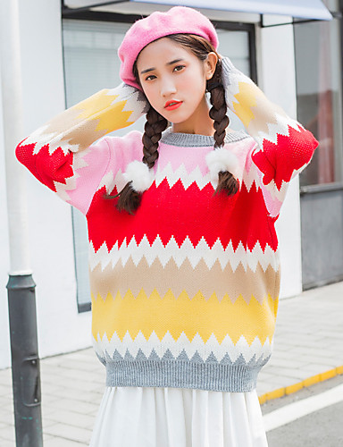 Damen Standard Pullover-Lässig/Alltäglich Einfarbig Rundhalsausschnitt Langarm Acryl Mittel Mikro-elastisch