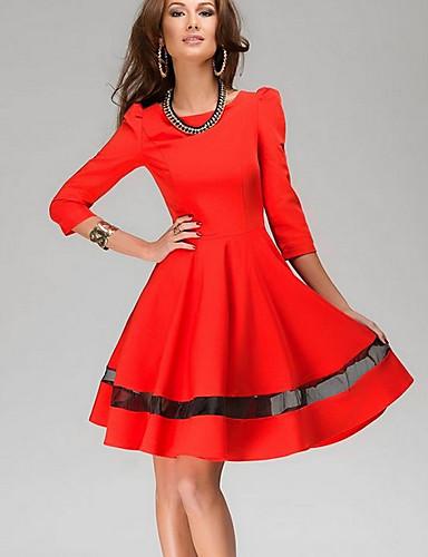 Damen Hülle Kleid-Alltag Solide Rundhalsausschnitt Übers Knie Langarm Polyester Sommer Herbst Mittlere Hüfthöhe Mikro-elastisch Mittel