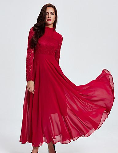 Damen Hülle Kleid-Lässig/Alltäglich Solide Rundhalsausschnitt Maxi Langärmelige Baumwolle Alle Jahreszeiten Hohe Hüfthöhe Mikro-elastisch