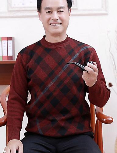 Herren Standard Pullover-Lässig/Alltäglich Hahnentrittmuster Rundhalsausschnitt Langarm Polyester Mittel Mikro-elastisch