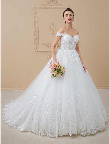 cheap Wedding Dresses-Ball Gown Off Shoulder Chapel Train Tulle / Glitter Lace Made-To-Measure Wedding Dresses with Sequin / Lace by LAN TING BRIDE® / Open Back