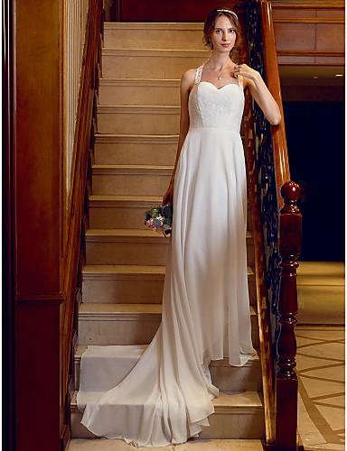 Krój A Księżniczka Pasy Tren w stylu sądowym Szyfon Koronka Niestandardowe suknie ślubne z Haft nakładany Guziki przez LAN TING BRIDE®