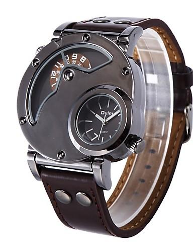 Oulm Муж. Наручные часы Кварцевый Кожа Коричневый Cool Крупный циферблат Аналого-цифровые Классика На каждый день Мода Нарядные часы - Коричневый