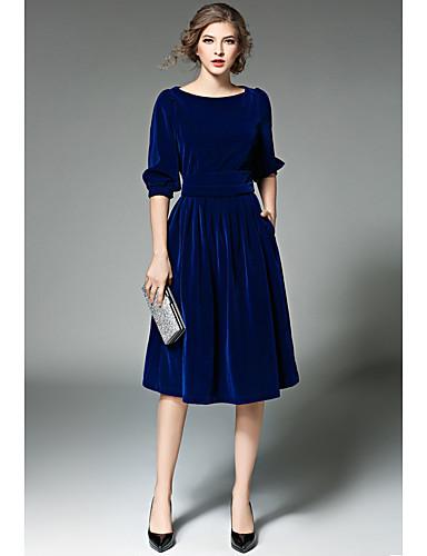 Damen Ausgehen Lässig/Alltäglich Hülle Knielang Kleid Solide Rundhalsausschnitt Langärmelige Hohe Taillenlinie