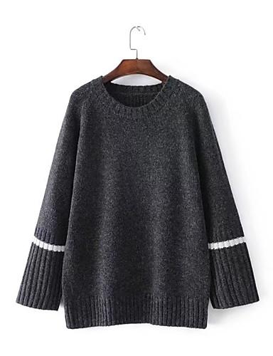 Damen Standard Pullover-Ausgehen Lässig/Alltäglich Solide Rundhalsausschnitt Langarm Baumwolle Andere Mittel Dick Dehnbar