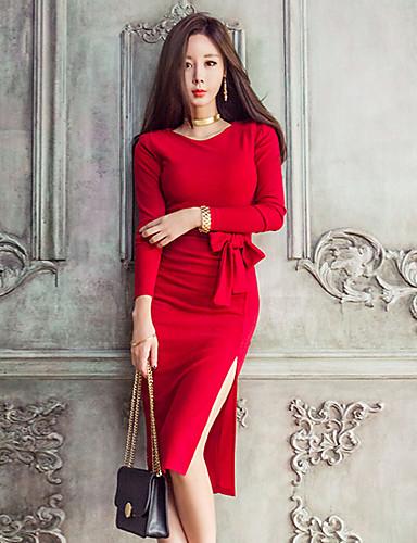 Damskie Pochwa Sukienka - Solidne kolory Do kolan