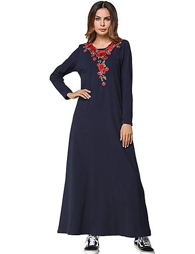 Damen Tunika Kleid-Lässig/Alltäglich Solide Stickerei Rundhalsausschnitt Maxi Langärmelige Baumwolle Alle Jahreszeiten Mittlere Hüfthöhe
