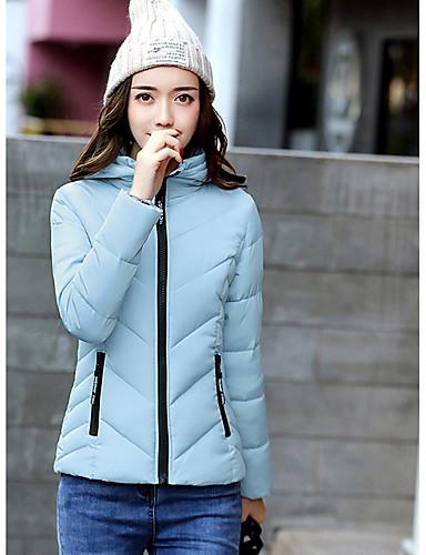 Damen Gefüttert Mantel Einfach Ausgehen Solide-Polyester Langarm