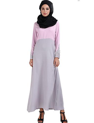 Damen Hülle Kleid-Lässig/Alltäglich Solide Rundhalsausschnitt Maxi Langärmelige Polyester Winter Mittlere Taillenlinie Unelastisch