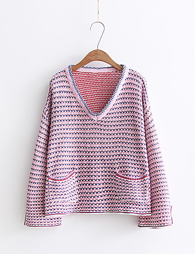 Damen Standard Pullover-Ausgehen Lässig/Alltäglich Gestreift V-Ausschnitt Langarm Baumwolle Andere Mittel Dick Mikro-elastisch