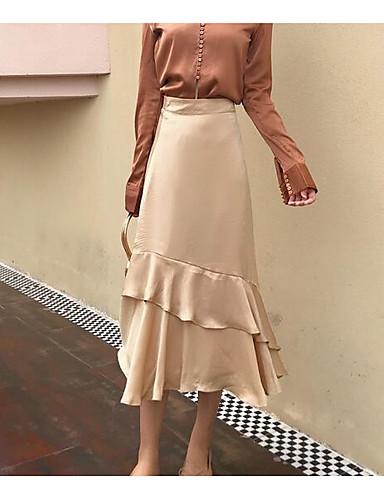 Damen Ausgehen Midi Röcke einfarbig Herbst