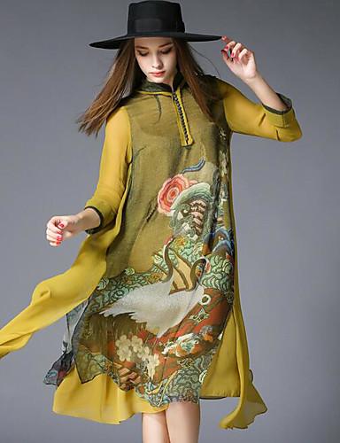 Damen Lose Kleid-Ausgehen Druck Rundhalsausschnitt Knielang Langarm 100% Polyester Mittlere Hüfthöhe Mikro-elastisch Undurchsichtig