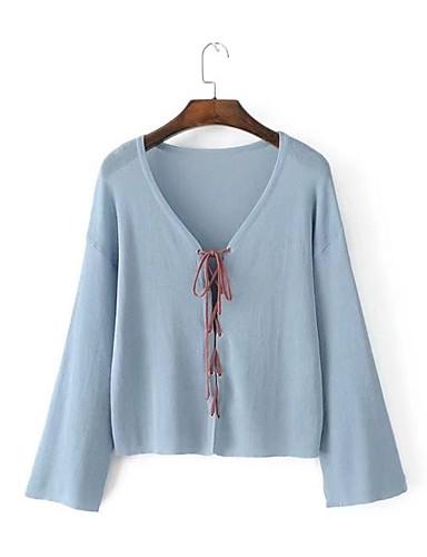 Damen Standard Strickjacke-Ausgehen Lässig/Alltäglich Solide Einfarbig V-Ausschnitt Langarm Baumwolle Andere Dünn Mittel Mikro-elastisch
