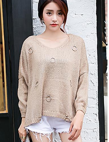 Damen Freizeit Baumwolle Langarm Pullover - Solide V-Ausschnitt