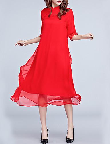 Damen Lose Kleid-Alltag Chinoiserie Solide Ständer Midi Asymmetrisch Halbe Ärmel Seide Kleidung Mittlere Hüfthöhe Mikro-elastisch Mittel
