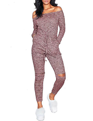cheap Women's Jumpsuits & Rompers-Women's Off Shoulder Daily / Weekend Boat Neck Black Red Gray Slim Jumpsuit, Solid Colored S M L High Waist Long Sleeve Fall