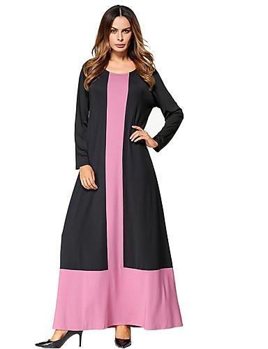 Damen Swing Kleid Einfarbig Maxi