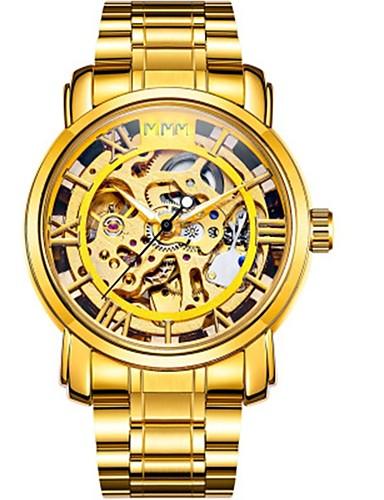 Herrn Armbanduhr / Mechanische Uhr Chinesisch Kalender / Chronograph / Wasserdicht Edelstahl Band Luxus / Freizeit / Modisch Gold / Automatikaufzug / Transparentes Ziffernblatt / Nachts leuchtend