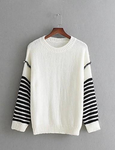 Damen Standard Pullover-Lässig/Alltäglich Arbeit Solide Gestreift Rundhalsausschnitt Langarm Baumwolle Andere Mittel Dick Dehnbar