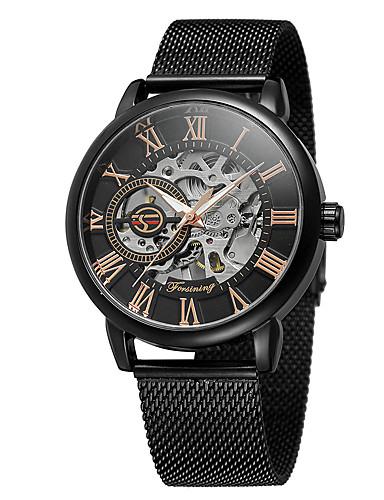 Męskie Nakręcanie automatyczne Zegarek na nadgarstek Hollow Grawerowanie Stop Pasmo Vintage Na co dzień Do sukni / garnituru Modny Czarny