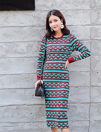 Damen Bodycon Kleid-Lässig/Alltäglich Einfarbig Rundhalsausschnitt Midi Langarm Acryl Mittlere Hüfthöhe Dehnbar Dick