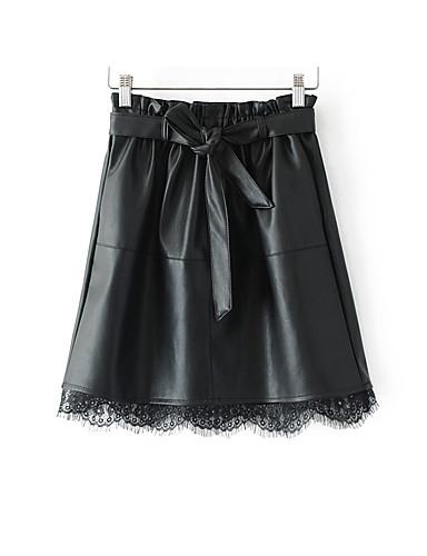 Damen Mini Röcke Spitze einfarbig