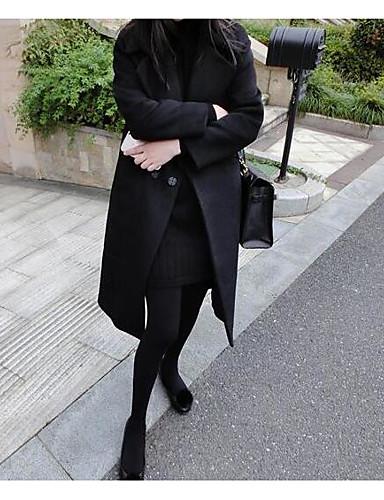 Damen Solide Einfach Freizeit Andere Mantel,Hemdkragen Herbst Langarm Lang Polyester