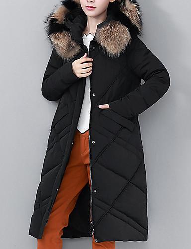 Damen Daunenjacke Mantel,Lang Street Schick Alltag Solide-Polyester Langarm