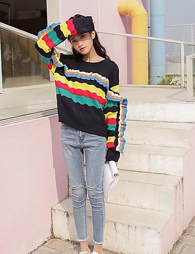 Damen Standard Pullover-Lässig/Alltäglich Einfach Gestreift Rundhalsausschnitt Langarm Baumwolle Mittel Mikro-elastisch
