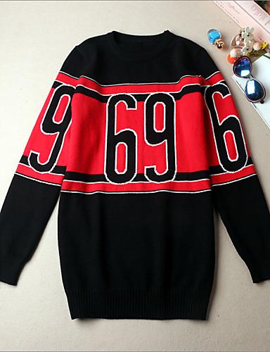 Damen Standard Pullover-Lässig/Alltäglich Boho Einfarbig Rundhalsausschnitt Langarm Baumwolle Polyester Mittel Dehnbar