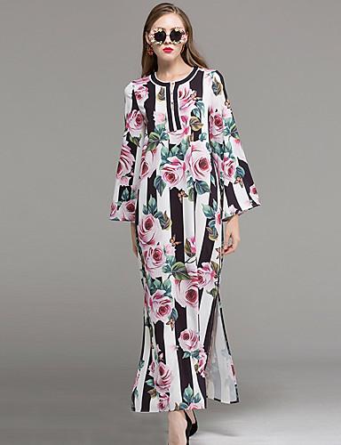 Damen Alltag Swing Knielang Kleid Blumen Rundhalsausschnitt Langarm Hohe Taillenlinie