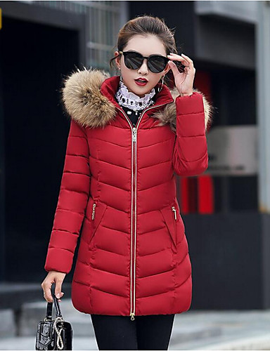 Damskie Rozmiar plus Moda miejska Długi Wyściełany Jendolity kolor Bawełna