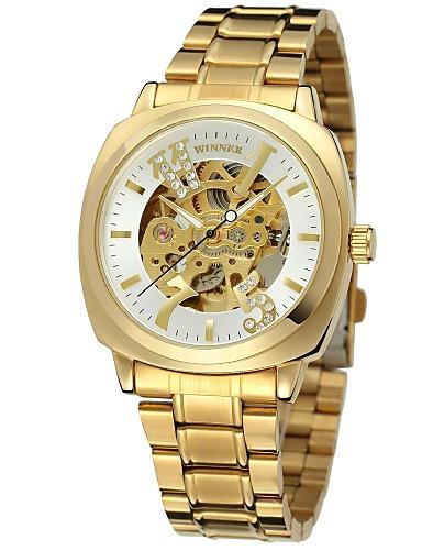 WINNER Męskie Damskie Nakręcanie automatyczne zegarek mechaniczny Zegarek na nadgarstek Hollow Grawerowanie Stal nierdzewna Pasmo