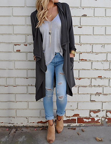 35dbef5806173 Women's Daily / Holiday Street chic Spring / Fall Long Trench Coat, Solid  Colored Peter Pan Collar Long Sleeve Polyester Dark Gray / Gray M / L / XL